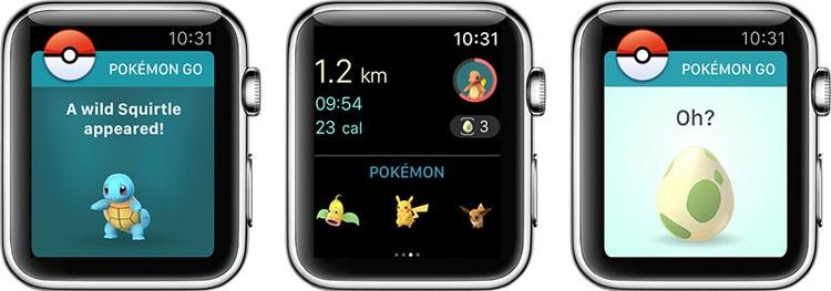 Interfaz de Pokémon GO en el Apple Watch