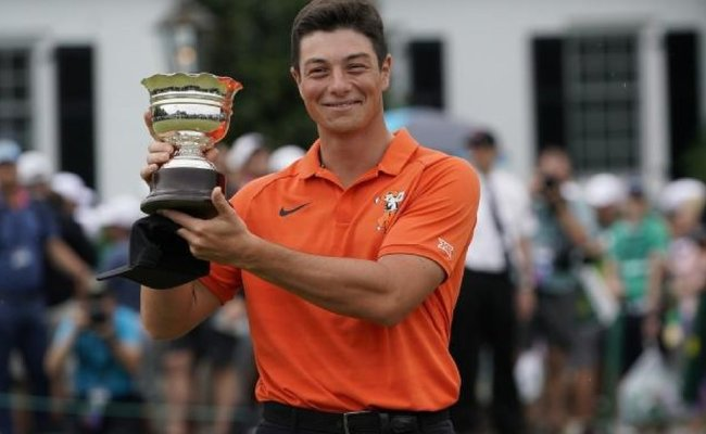 The Masters Oklahoma State S Victor Hovland Is Low