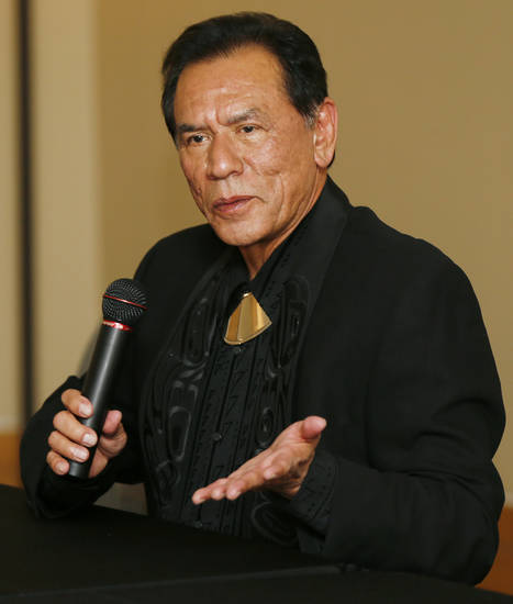 Honoree Wes Studi speaks during the press conference before the Western Heritage Awards at the National Cowboy  & Western Heritage Museum in Oklahoma City, Saturday, April 20, 2013. Studi is being inducted into the Hall of Great Western Performers. Photo by Nate Billings, The Oklahoman