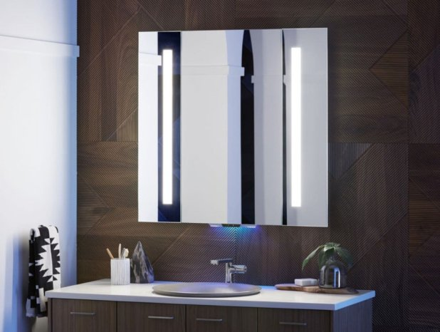 Photo -  The Alexa-enabled Verdera mirror plays music and podcasts. [PHOTO PROVIDED BY KOHLER]