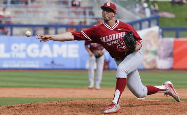 Oklahoma reliever JB Olson has a 1.33 ERA in 27 innings this season but hasn't pitched since April 2. Olson is one of several Sooners expected back for this weekend's series against Kansas. [PHOTO BY JESSIE WARDARSKI, TULSA WORLD]
