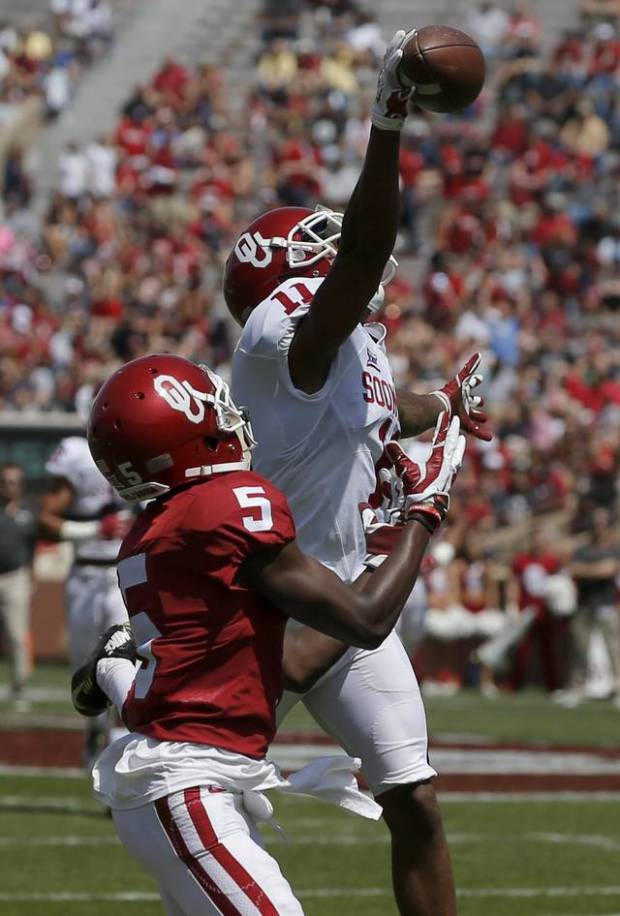 Oklahoma sophomore cornerback Parnell Motley makes a play in the Sooners' spring game on April 8. Thursday, during OU's last practice of the spring, Motley intercepted Baker Mayfield, continuing to show why he's in contention for a spot in the starting lineup in the fall. [PHOTO BY BRYAN TERRY, THE OKLAHOMAN]