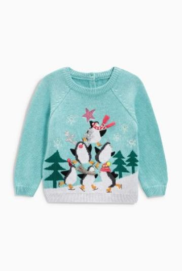 Blue Penguin Christmas Jumper (3mths-6yrs)