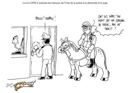 Dessin : la police bientôt équipée de chevaux de Troie
