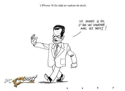 Dessin : rupture de stock d'iPhone, Sarko à la rescousse