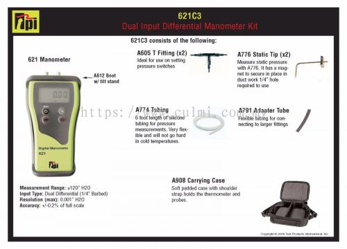small resolution of tpi 621c3 dual input differential manometer kit
