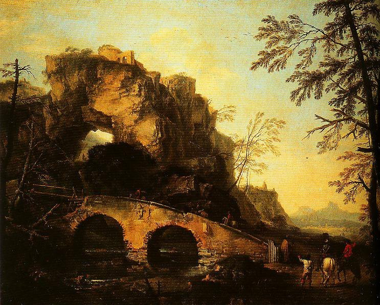 The Ruined Bridge Painting  Salvator Rosa Oil Paintings