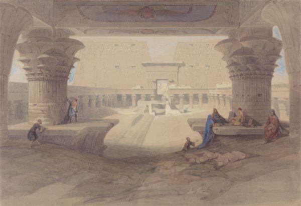 Under Portico Of Temple Edfu Upper Egypt