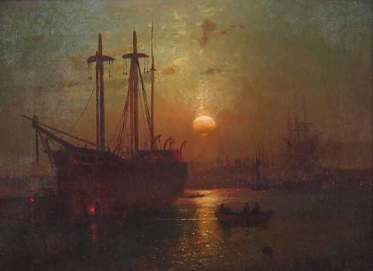 Whale Ship of New Bedford Harbor Painting   Lemuel D. Eldred Oil Paintings