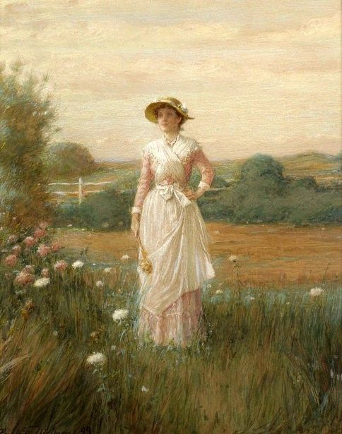 Woman In Field Painting : woman, field, painting, Young, Woman, Field, Flowers, Painting, Frederick, Dielman, Paintings