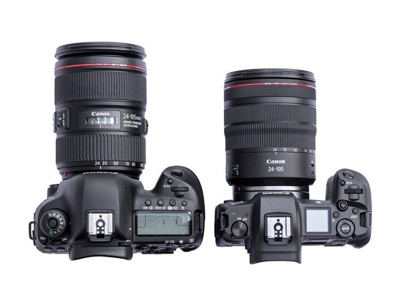 Size comparison of the Canon EOS R and the Canon EOS 5D Mark IV