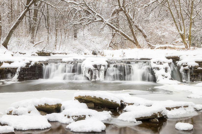 Winter landscape photography: snowy waterfall
