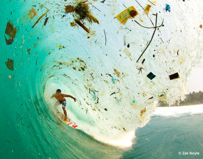 """Image """"Wave of Change"""" by Zak Noyle illustrating garbage in the ocean."""