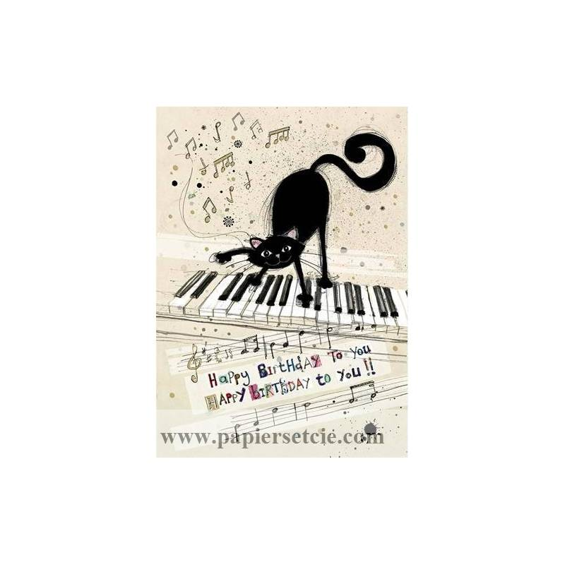 Carterie Chats Carte Double Happy Birthday Chat Au Piano