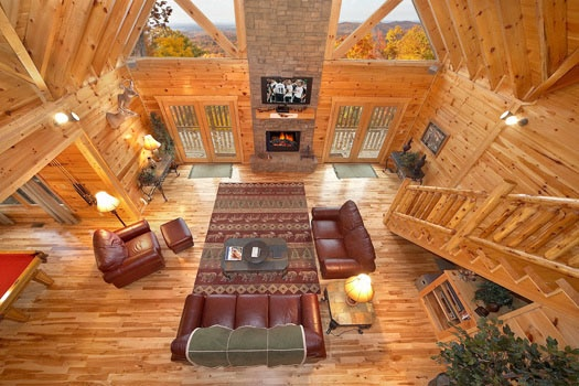 Living Room View From Loft At Sky Lodge A 3 Bedroom Cabin Al Located In