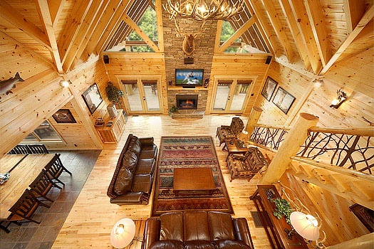 Looking Down Into Living Room From The Loft At Incredible A 6 Bedroom Cabin Al
