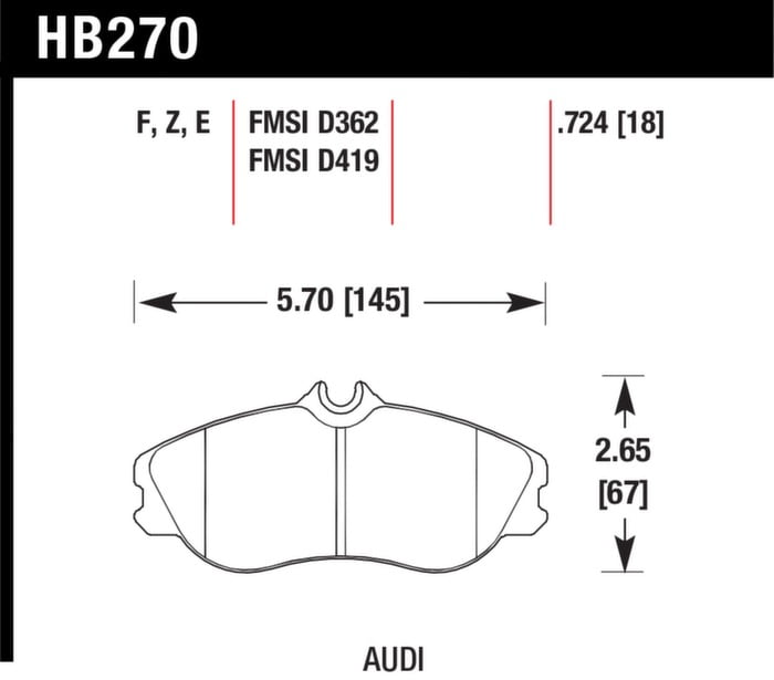 Audi Hawk Performance HPS Brake Pad Set w/ Wear Sensor For