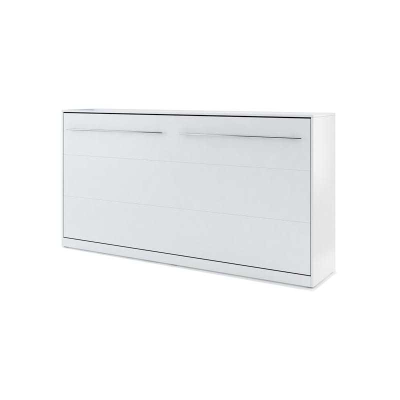lit armoire escamotable horizontal blanc mat