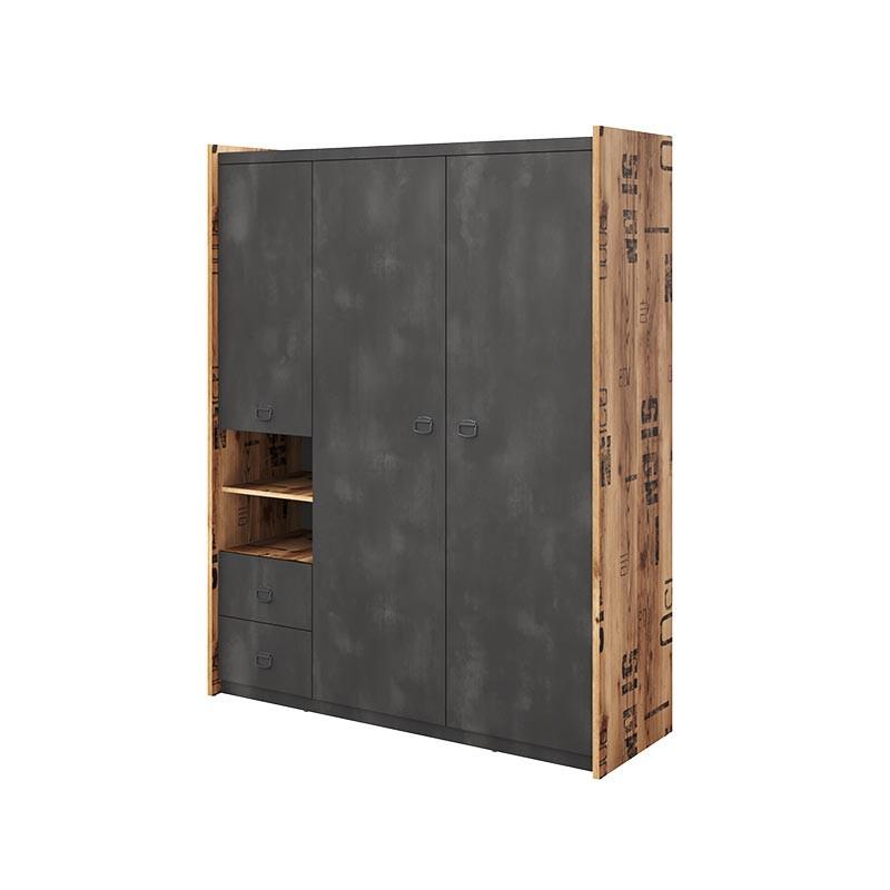 armoire triple fargo design metal et bois