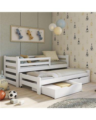 lit gigogne cuba avec tiroirs et barriere personnalisable pour chambre enfant