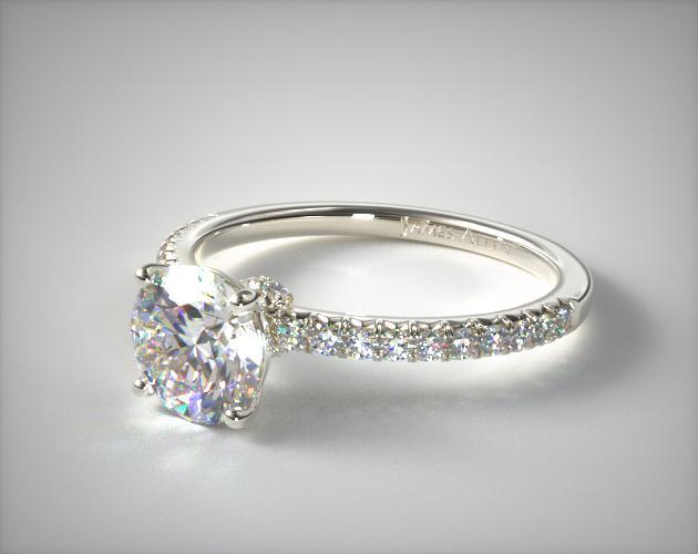 Engagement Rings Pave 14k White Gold French Cut Pave Wire Basket Engagement Ring Item 53055