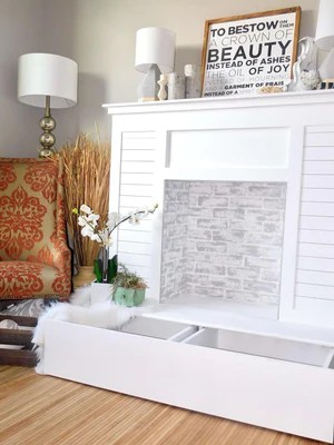 Shiplap Faux Fireplace 4 2048x - Faux Fireplace with Hidden Storage