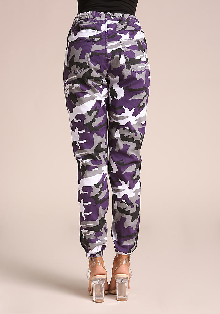 Junior Clothing  Purple Camo Drawstring Cargo Jogger
