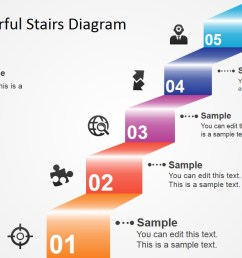5 step colorful stairs diagram for powerpoint [ 1280 x 720 Pixel ]