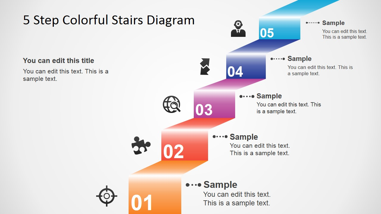hight resolution of 5 step colorful stairs diagram for powerpoint