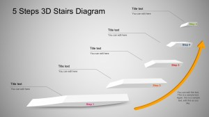 5 Step 3D Stairs Diagram for PowerPoint