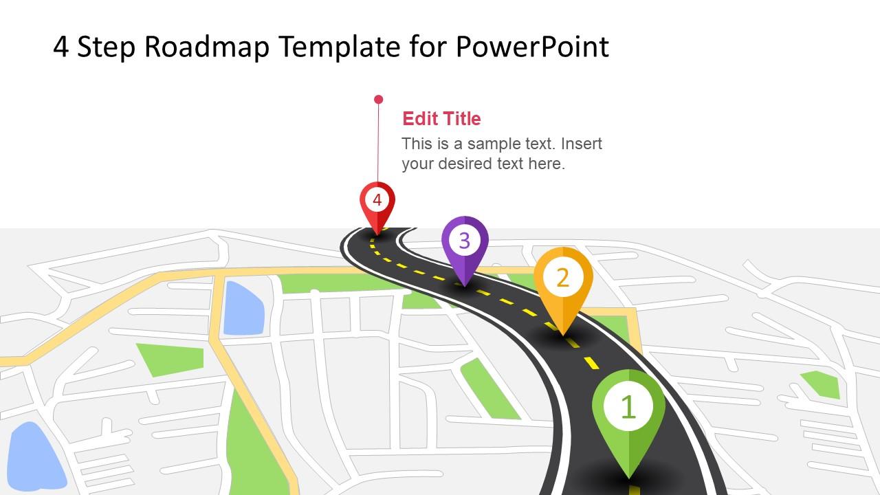 4 step roadmap concept