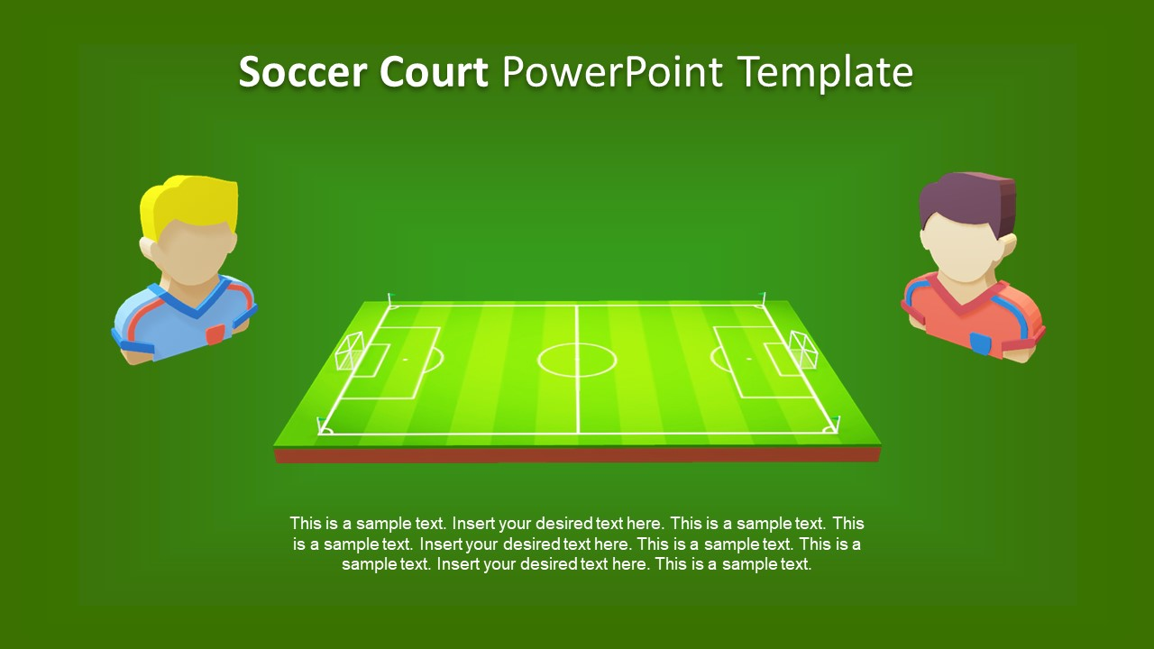 hight resolution of presentation of 3d animated game football field slide players clipart