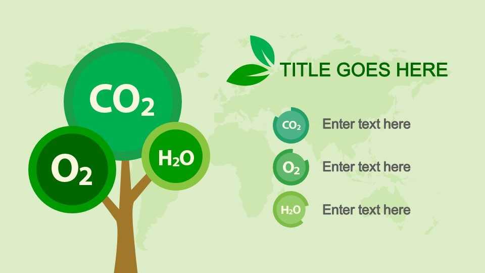 CO2 O2 & H2O Slide Design With Tree Clipart For