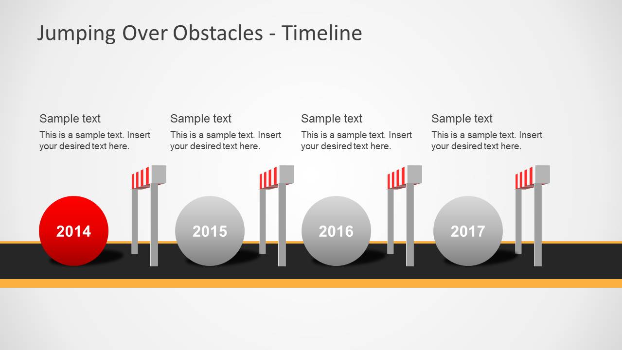 Challenges Amp Hurdles Timeline For PowerPoint SlideModel