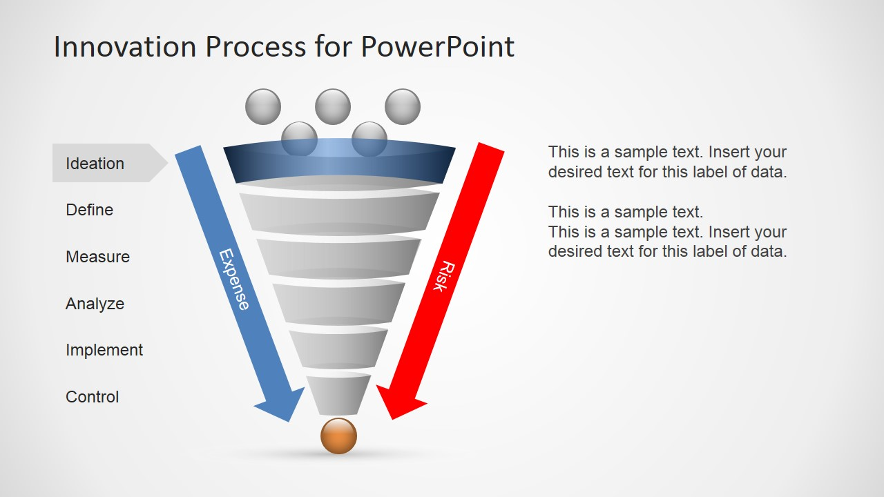 process flow diagram shapes wiring for extension cord innovation funnel powerpoint - slidemodel