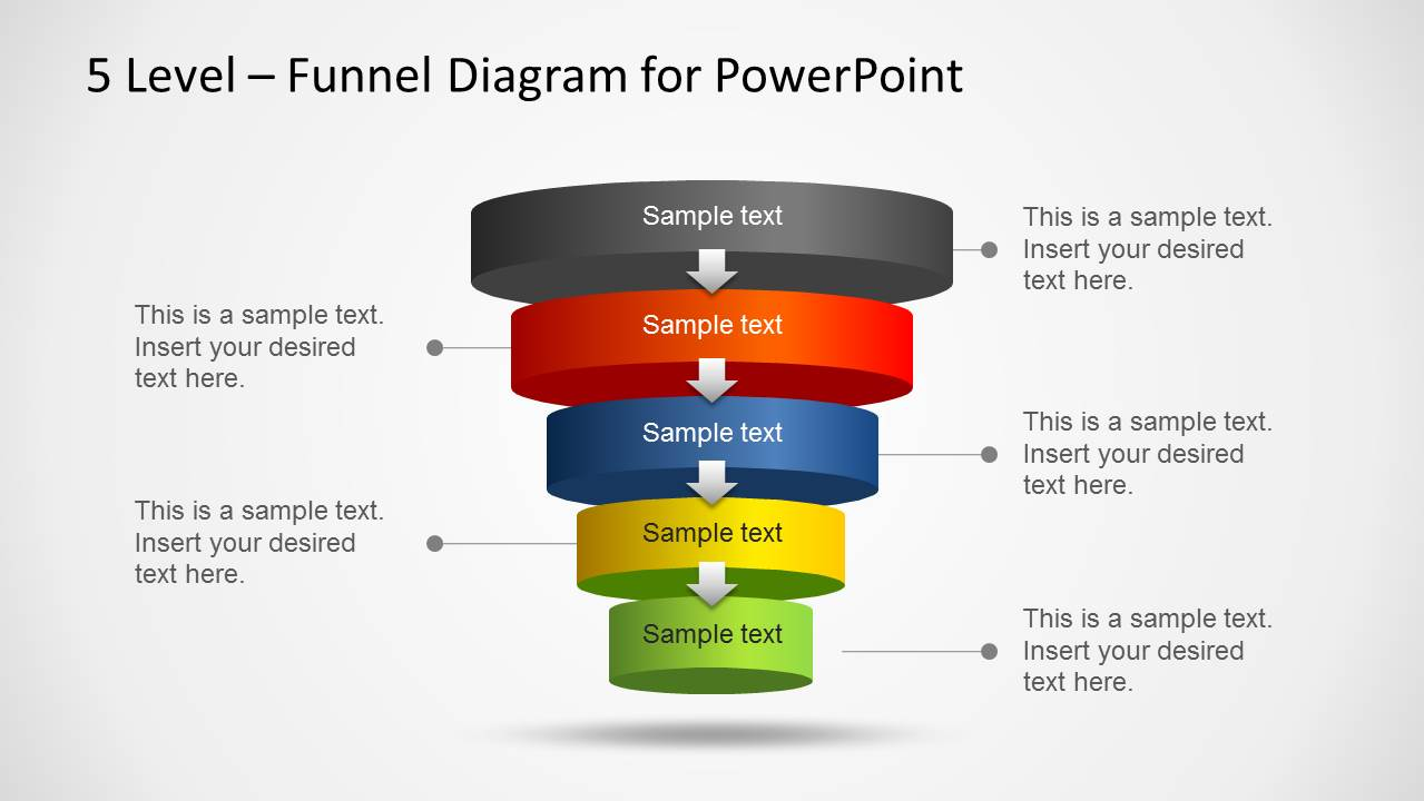 5 Level Funnel Diagram Template For Powerpoint