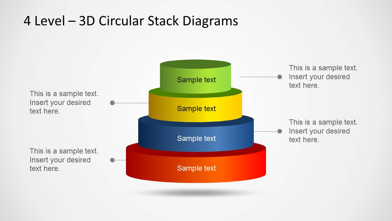 hight resolution of 3d circular stack diagram for powerpoint with 4 levels