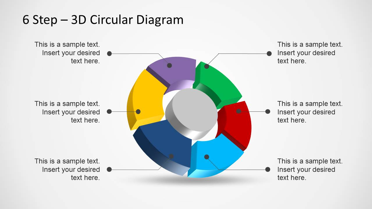 hight resolution of 6 step 3d circular diagram template for powerpoint