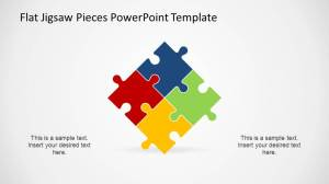 Inclined Square created with Four PowerPoint Jigsaw Pieces