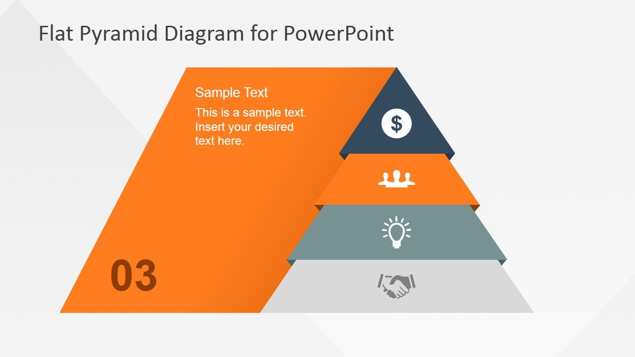 hight resolution of  flat pyramid diagram 4 steps 3 level