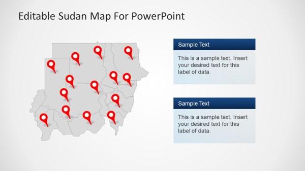 Sudan Pin Maps Shapes PowerPoint SlideModel