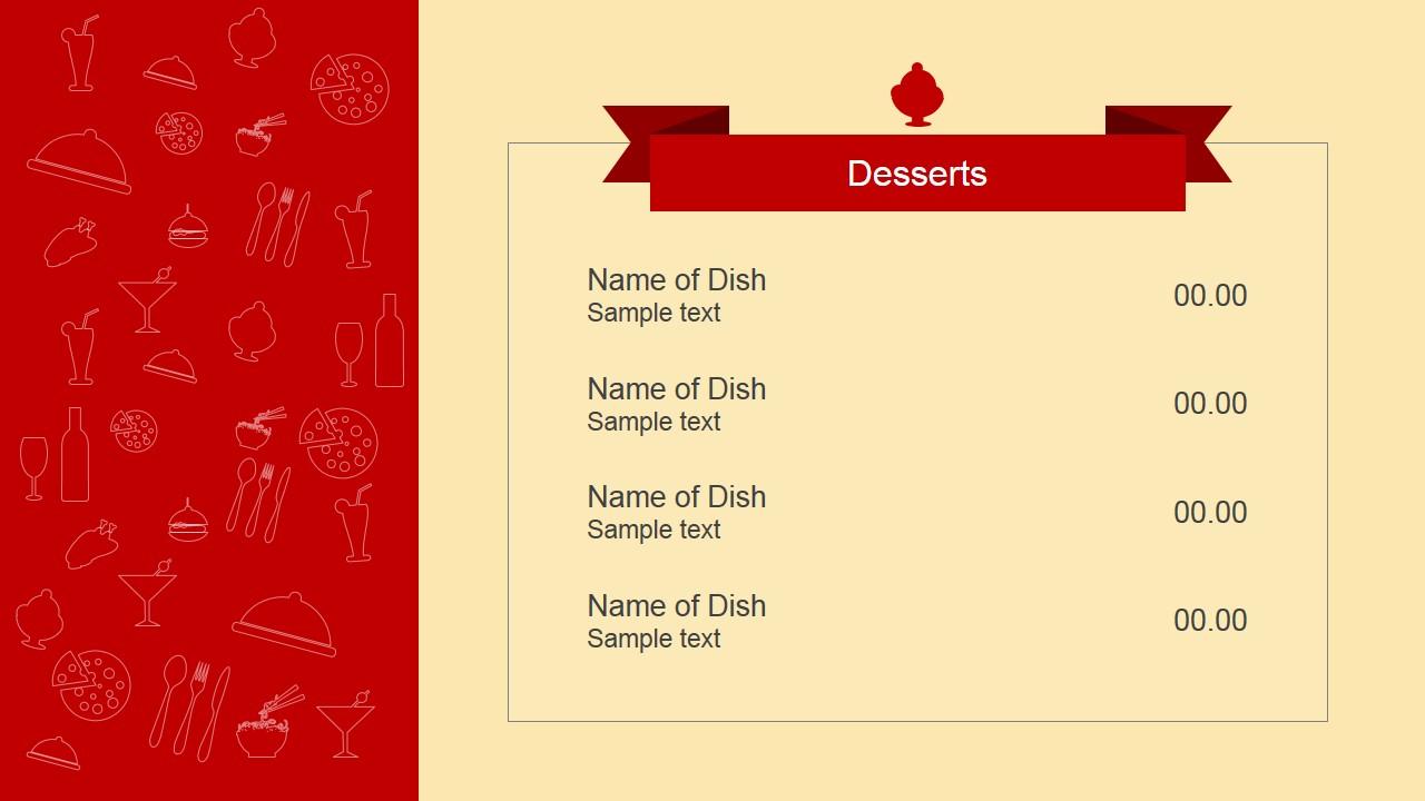 Restaurant Beverages Powerpoint Slide; Dessert Menu Powerpoint Slide