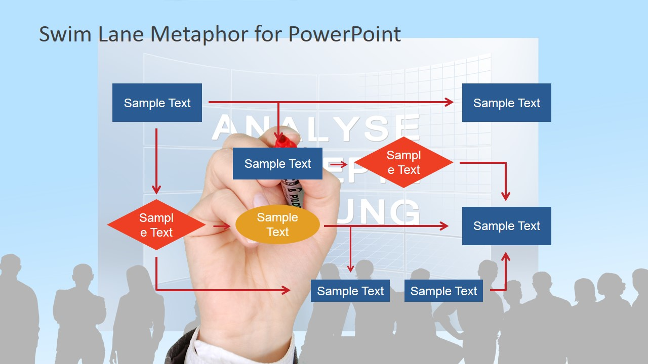 Flow Chart With Audience Background Powerpoint Slide
