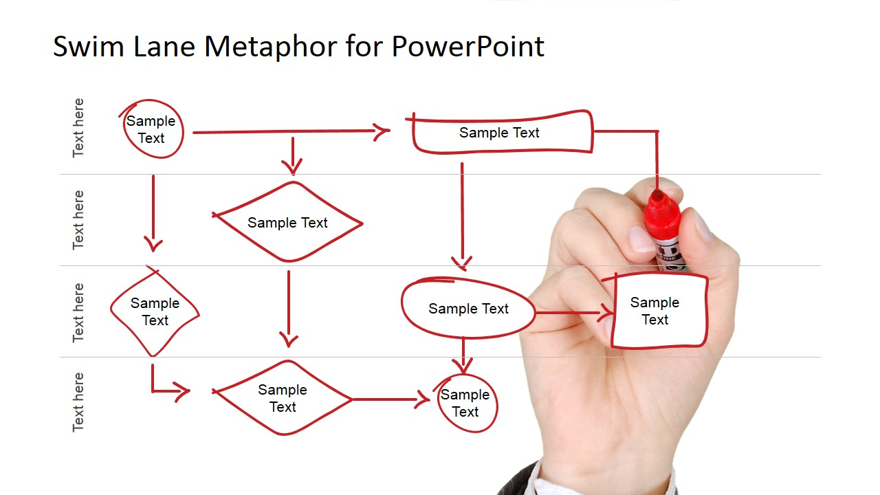 swim lane diagram in ppt 1999 honda civic fuse for powerpoint slidemodel model white board drawn process