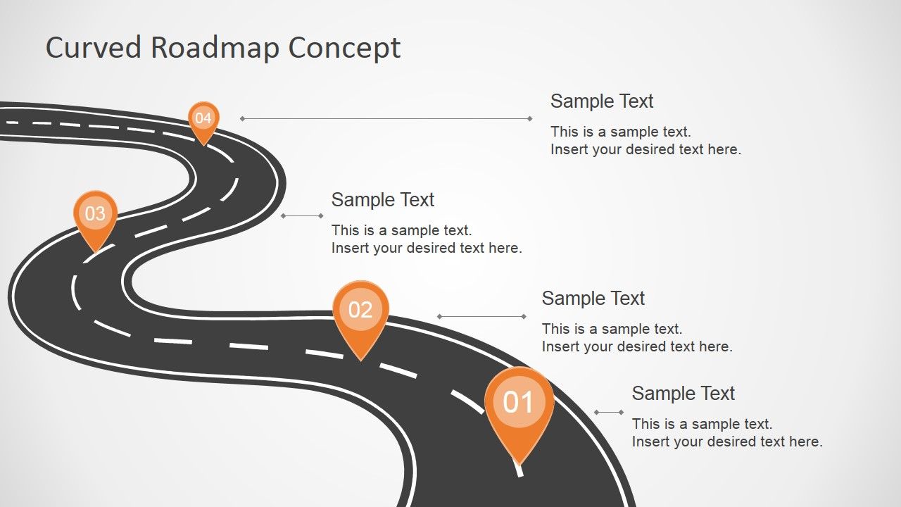 Curved Road Map Concept for PowerPoint - SlideModel