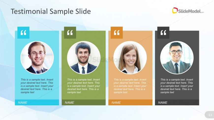 4 Columns Product Testimonials PowerPoint Graphics SlideModel