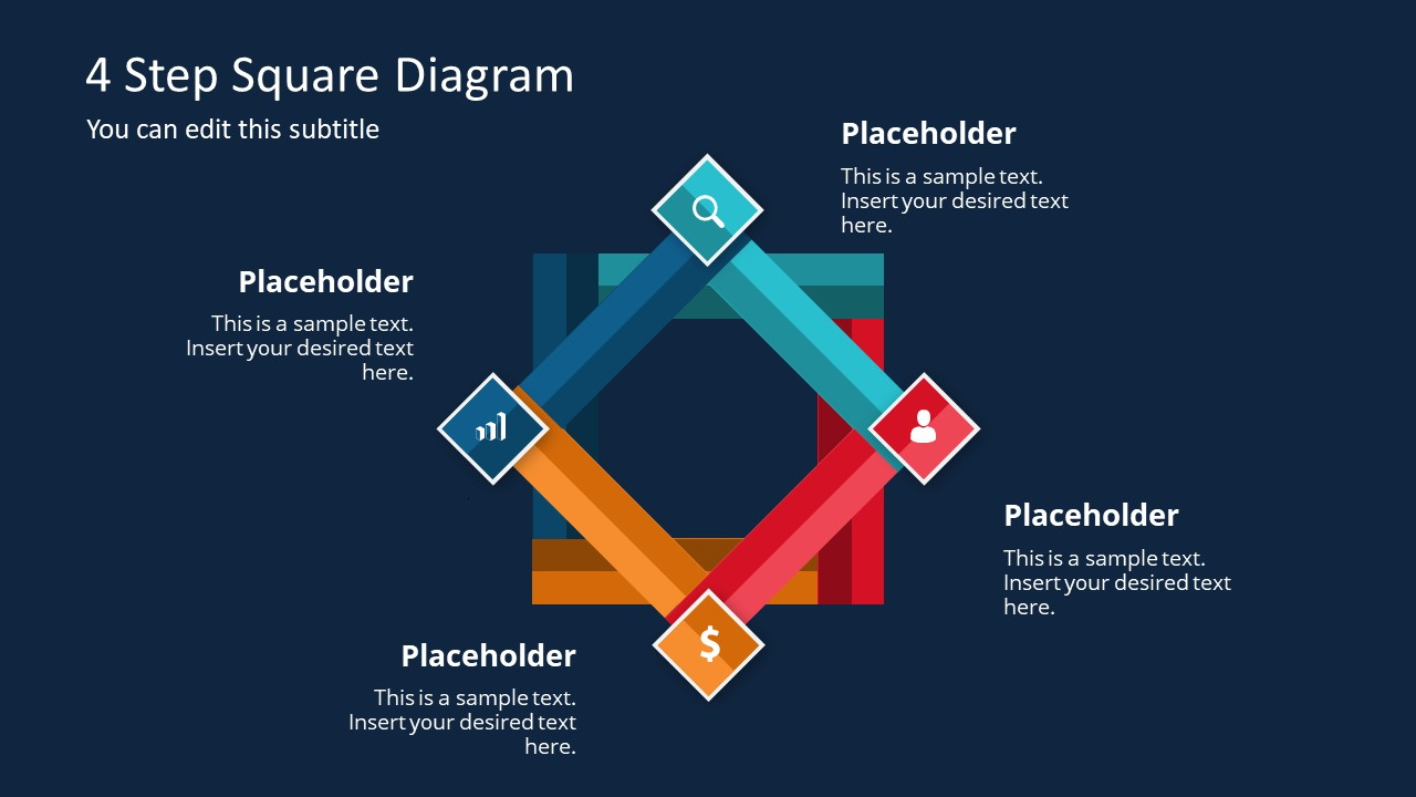 hight resolution of  presentation of 4 step square diagram cycle