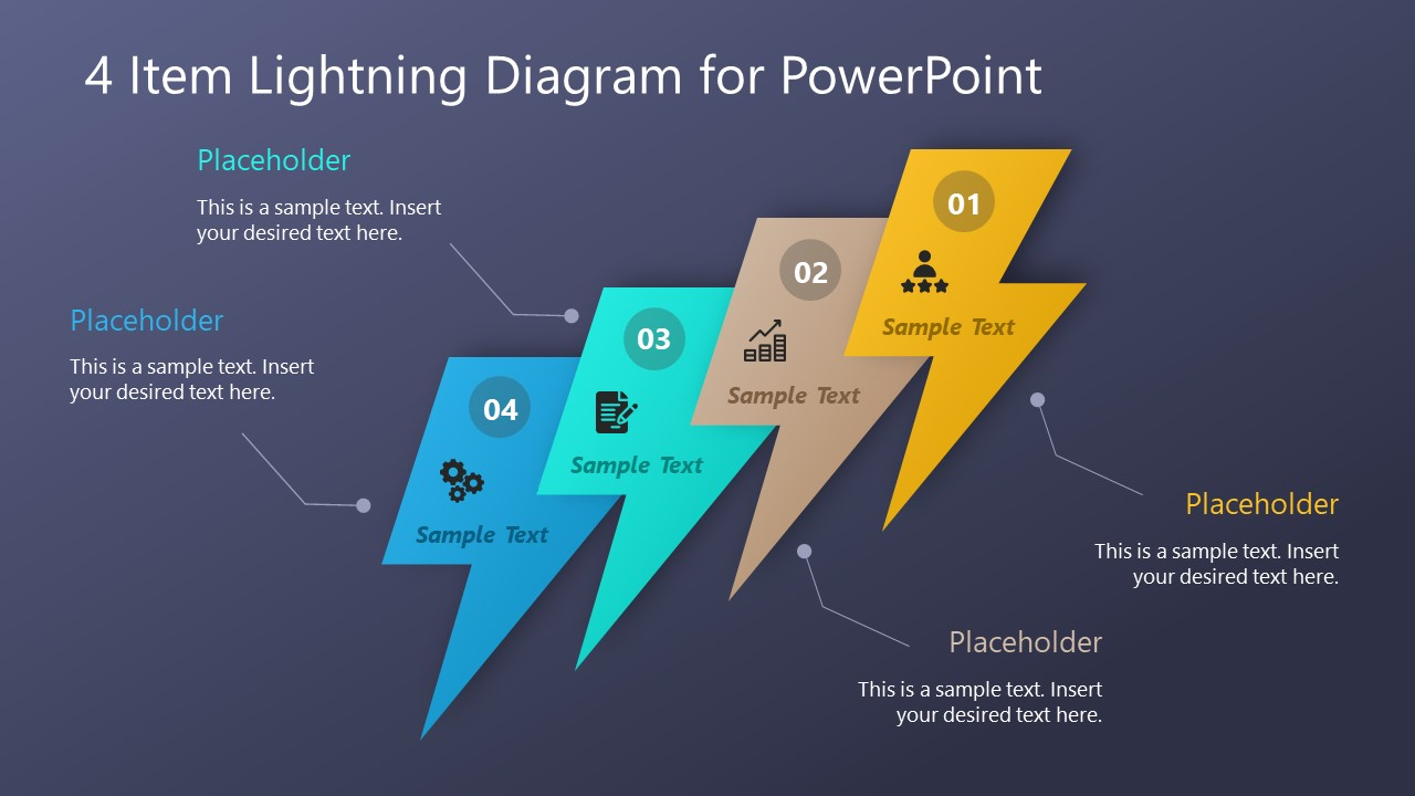 Multi Steps PowerPoint Diagram Lightning  SlideModel