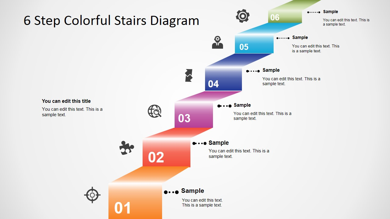 hight resolution of 6 step colorful stairs diagram for powerpoint slidemodel diagram of steps 3d modern stair with powerpoint