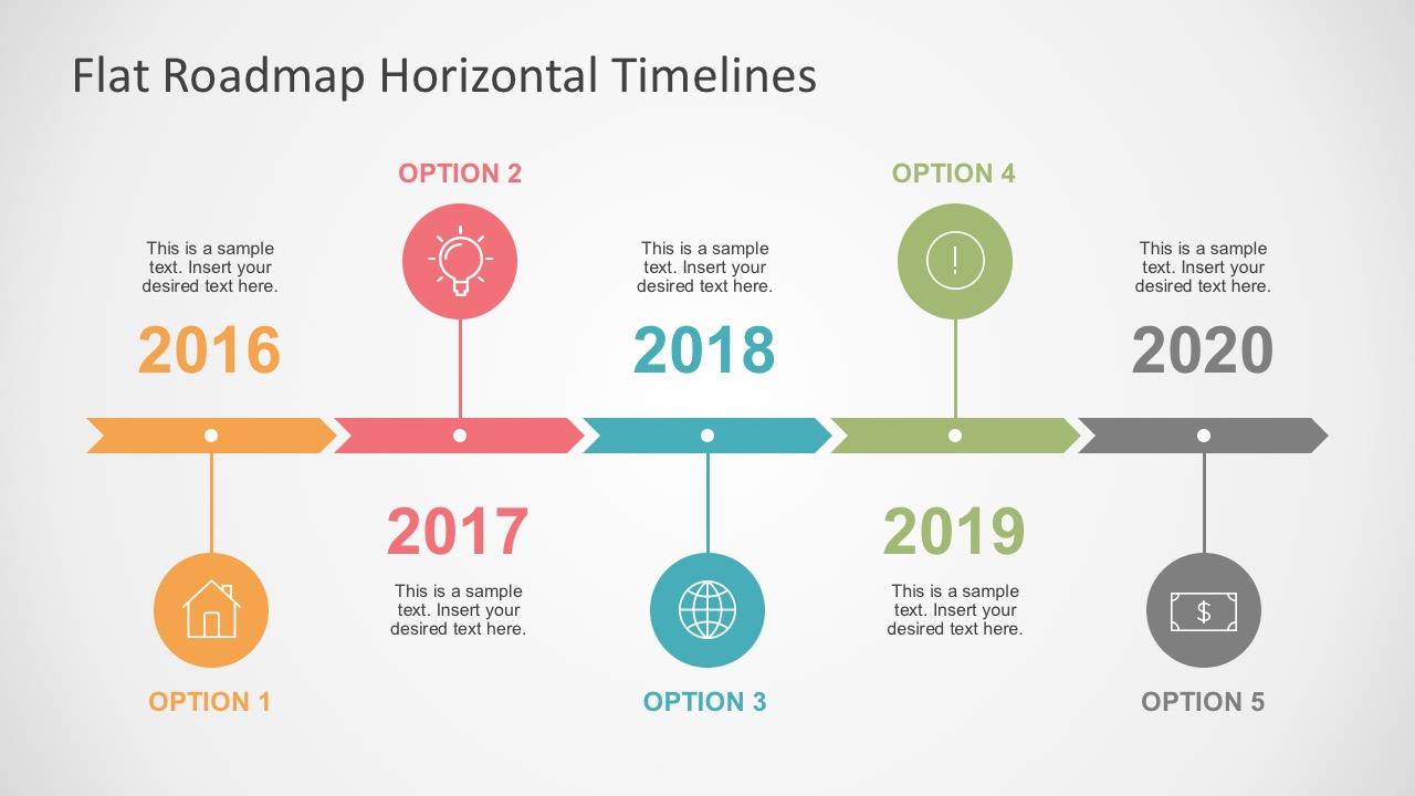 flat roadmap horizontal timelines